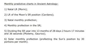 Ancient predictive Astrology - monthly charts s
